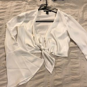Tie front top with flare sleeves